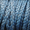 5mm Flat Indian Braided Leather NAT BLUE - 10 Meter BLACK Spool