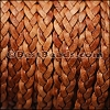 5mm Flat Indian Braided Leather NAT LIGHT BROWN - 10 Meter BLACK Spool