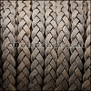 5mm Flat Indian Braided Leather NAT GREY - 10 Meter BLACK Spool