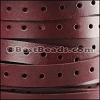 10mm flat PUNCHED leather BURGUNDY- per meter