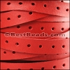10mm flat PUNCHED leather RED- per meter