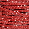 5mm flat GLITTER leather RED - meter