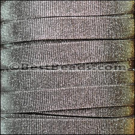14mm Flat Iridescent Fabric Cord Black Multi Per 2 Meters