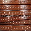 10mm flat ITALIAN STUDDED leather STYLE 3 MED BROWN - per 1 meter