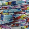 5mm flat WATERCOLOR leather FLORAL BLUE - per 5 meters