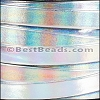 10mm flat HOLOGRAPHIC leather SILVER - per 2 meters
