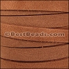 10mm flat SUEDE leather MEDIUM BROWN - meter