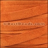 10mm flat SUEDE leather ORANGE - meter