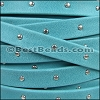 10mm flat STUDDED ARIZONA leather TURQUOISE - meter