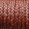 5mm Flat Indian Braided Leather NAT RED BROWN - 10 Meter BLACK Spool