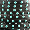 10mm flat DOME STUDDED leather BLACK + TURQUOISE - 1 meter