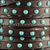 10mm flat DOME STUDDED leather BROWN + TURQUOISE - 1 meter
