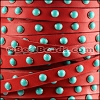 10mm flat DOME STUDDED leather RED + TURQUOISE - 1 meter