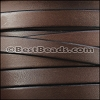 10mm flat BRUCIATO leather BROWN with BLACK EDGE - per 2 meters