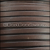 5mm flat BRUCIATO leather BROWN with BLACK EDGE - per 5 meters