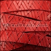 10mm flat GEOMETRIC WEAVE leather RED - per meter