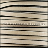 5mm flat BRUCIATO leather NATURAL with BLACK EDGE- per 5 meters