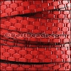 10mm flat BASKETWEAVE leather RED - per 10m SPOOL