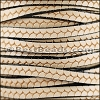 6mm flat IMPRINTED TWIST leather NATURAL WITH BLACK- per meter