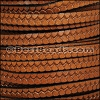 6mm flat IMPRINTED TWIST leather TAN - per meter