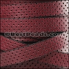 10mm flat PERFORATED leather BURGUNDY - per meter