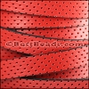 10mm flat PERFORATED leather RED - per meter