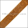 40mm flat ENGRAVED leather NATURAL - per meter
