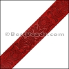 40mm flat ENGRAVED leather RED - per meter