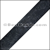 40mm flat ENGRAVED leather NAVY - per meter