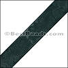 40mm flat ENGRAVED leather GREEN - per meter
