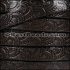 10mm Flat EMBOSSED leather STYLE 1 CHOCOLATE with BLACK - per 10m SPOOL