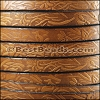 10mm flat EMBOSSED FLORAL leather TOBACCO - meter