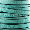 10mm flat EMBOSSED FLORAL leather TURQUOISE - meter
