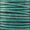 5mm flat EMBOSSED FLORAL leather TURQUOISE - meter