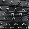 10mm flat DOME STUDDED leather BLACK - per 1 meter