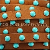 10mm flat DOME STUDDED leather TAN + TURQUOISE - per 1 meter