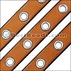 10mm flat EYELET leather TOBACCO - 1 meter