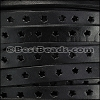 8mm flat STAR PUNCHED leather BLACK - per meter