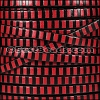 5mm flat STRIPED leather BLACK & RED - per 5 meters