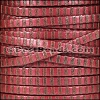 5mm flat STRIPED leather MET RED & BRONZE - per 5 meters