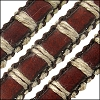 10mm flat ORNATE leather MED BROWN WITH CORD - per 2 meters