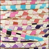 5mm flat ITALIAN PRINTED leather PASTEL MOSAIC - per 5 meters