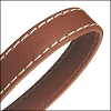 10mm flat WRAPPED STITCHED leather SADDLE BROWN - per 2 meters