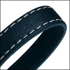 10mm flat WRAPPED STITCHED leather NAVY BLUE - per 2 meters