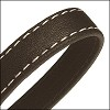 10mm flat WRAPPED STITCHED leather DARK BROWN - per 2 meters