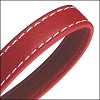 10mm flat WRAPPED STITCHED leather RED - per 2 meters