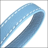 10mm flat WRAPPED STITCHED leather LIGHT BLUE - per 2 meters