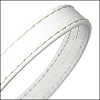 10mm flat WRAPPED STITCHED leather WHITE - per 2 meters