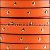 10mm flat STUDDED leather RUST - per 2 meters