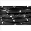 5mm flat STUDDED leather BLACK - per 5 meters
